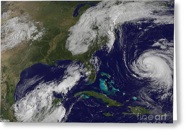 Hispaniola Greeting Cards - Satellite View Of Several Weather Greeting Card by Stocktrek Images
