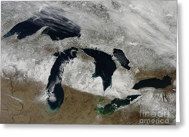 Land Feature Greeting Cards - Satellite View Of Snow Across Wisonsin Greeting Card by Stocktrek Images