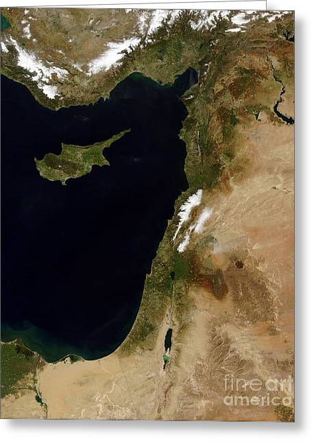 Western Asia Greeting Cards - Satellite View Of Snow In Lebanon Greeting Card by Stocktrek Images