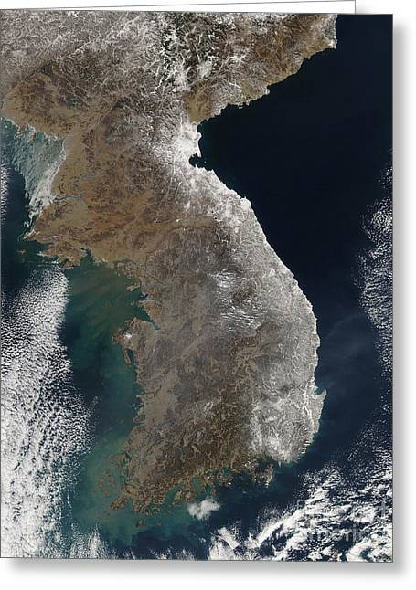 Land Feature Greeting Cards - Satellite View Of Snowfall Along South Greeting Card by Stocktrek Images