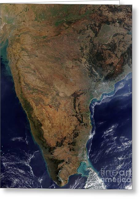 True Colors Greeting Cards - Satellite View Of Southern India Greeting Card by Stocktrek Images