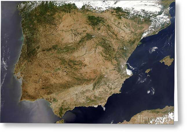 True Colors Greeting Cards - Satellite View Of Spain And Portugal Greeting Card by Stocktrek Images