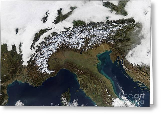 Recently Sold -  - Phytoplankton Greeting Cards - Satellite View Of The Alps Greeting Card by Stocktrek Images