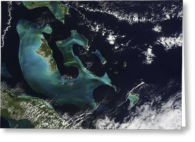 Physical Body Greeting Cards - Satellite View Of The Bahama Islands Greeting Card by Stocktrek Images
