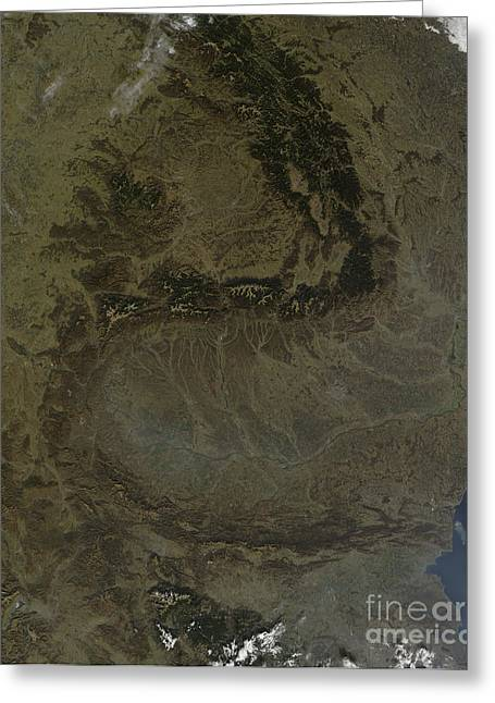 Carpathian Mountains Greeting Cards - Satellite View Of The Carpathian Greeting Card by Stocktrek Images