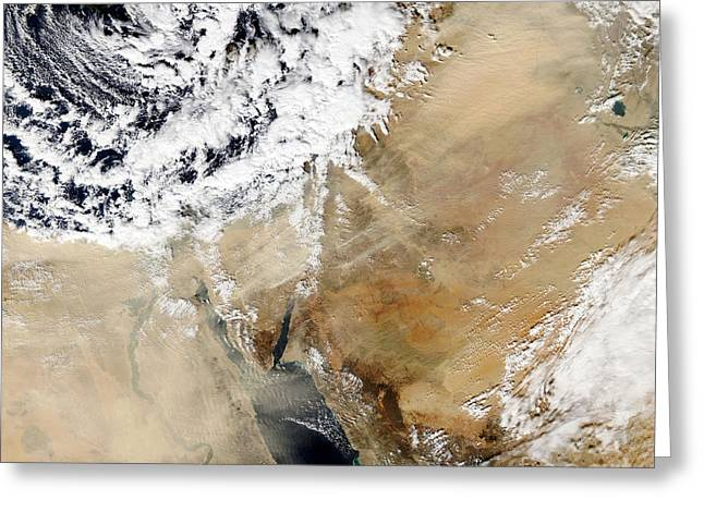 Dust Clouds Greeting Cards - Satellite View Of The Eastern Greeting Card by Stocktrek Images