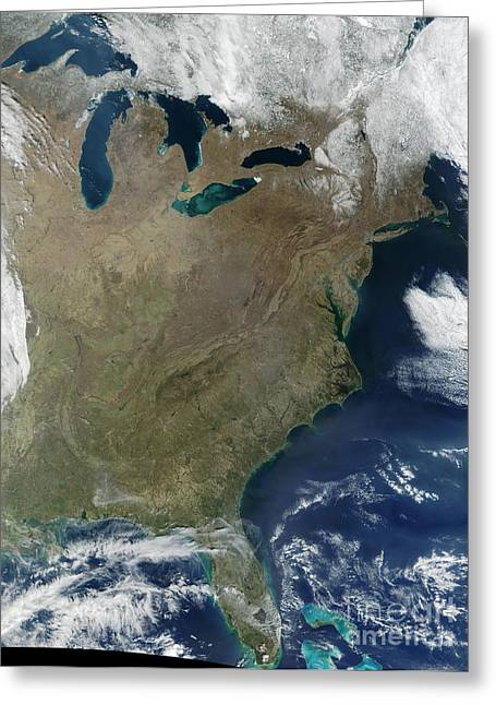 True Colors Greeting Cards - Satellite View Of The Eastern United Greeting Card by Stocktrek Images