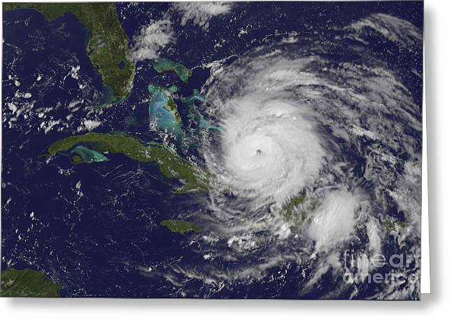 Hispaniola Greeting Cards - Satellite View Of The Eye Of Hurricane Greeting Card by Stocktrek Images