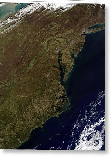 True Colors Greeting Cards - Satellite View Of The Mid-atlantic Greeting Card by Stocktrek Images