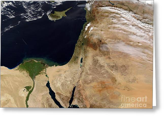 True Colors Greeting Cards - Satellite View Of The Middle East Greeting Card by Stocktrek Images