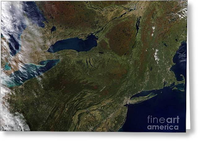 True Colors Greeting Cards - Satellite View Of The Northeast United Greeting Card by Stocktrek Images