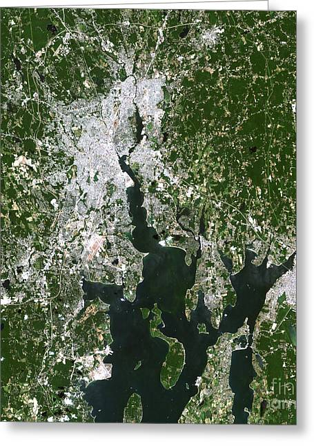 Foxborough Greeting Cards - Satellite View Of The Pawtucket Greeting Card by Stocktrek Images