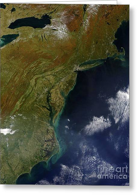 Land Feature Greeting Cards - Satellite View Of The United States Greeting Card by Stocktrek Images