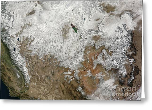 Satellite View Of The Western United Greeting Card by Stocktrek Images