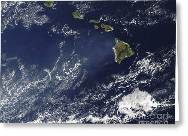 Haze Greeting Cards - Satellite View Of Volcanic Fog Greeting Card by Stocktrek Images