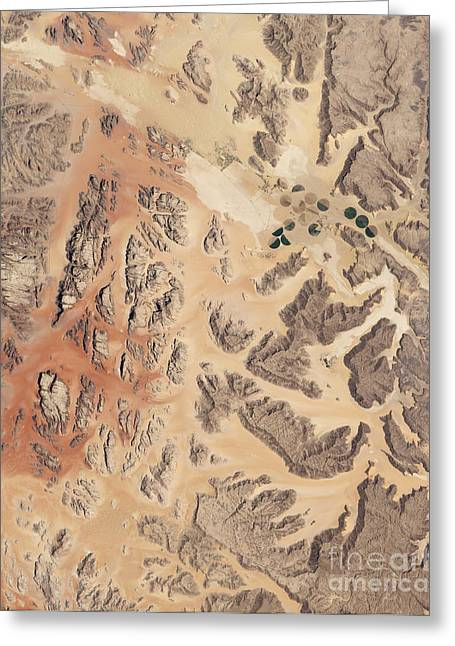 Satellite View Of Wadi Rum Greeting Card by Stocktrek Images