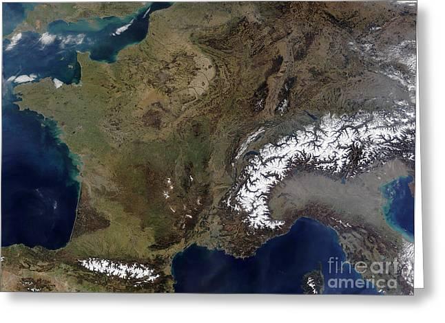 True Colors Greeting Cards - Satellite View Of Western Europe Greeting Card by Stocktrek Images