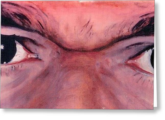 India Babas Paintings Greeting Cards - Sathya Sai Baba - Eyes Only Greeting Card by Anne Provost