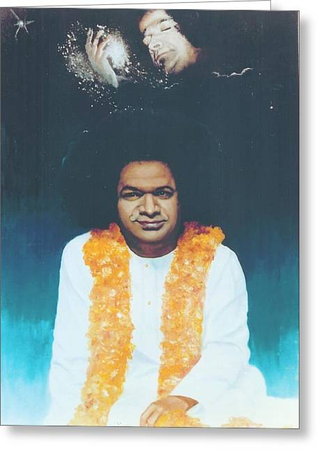 India Babas Paintings Greeting Cards - Sathya Sai Baba Divine Greeting Card by Anne Provost