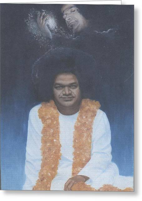 India Babas Paintings Greeting Cards - Sathya Sai Baba Divine II Greeting Card by Anne Provost