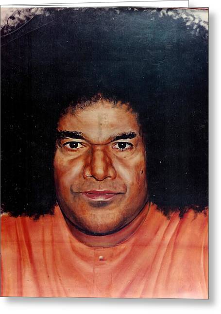 Baba Paintings Greeting Cards - Sathya Sai Baba- Full Face Greeting Card by Anne Provost