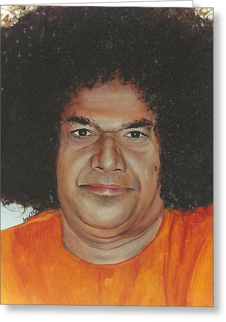 India Babas Paintings Greeting Cards - Sathya Sai Baba- Sarada Sai Greeting Card by Anne Provost