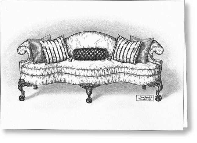 Pen And Paper Drawings Greeting Cards - Satin Chippendale English Sofa Greeting Card by Adam Zebediah Joseph