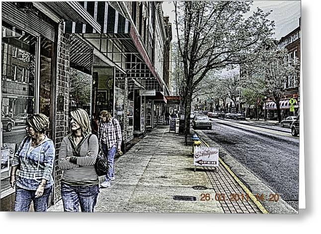 Saturday Down Town Greeting Card by Mike Waddell