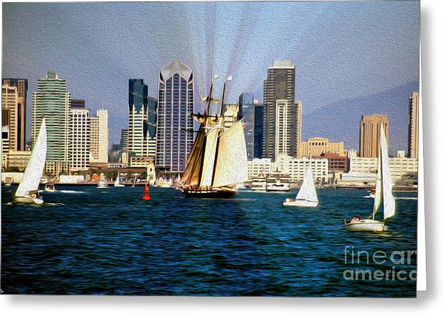 Saturday in San Diego Bay Greeting Card by Cheryl Young