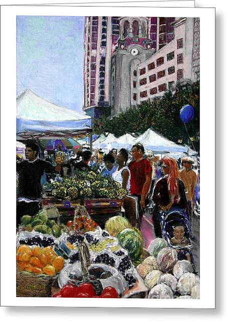 Downtown Pastels Greeting Cards - Saturday Morning Market Greeting Card by Barry Rothstein