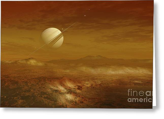 Geology Digital Art Greeting Cards - Saturn Above The Thick Atmosphere Greeting Card by Fahad Sulehria