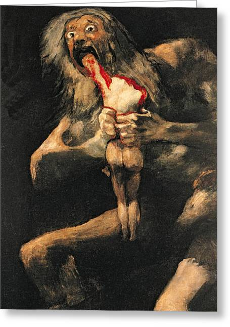 Eating Greeting Cards - Saturn Devouring one of his Children  Greeting Card by Goya