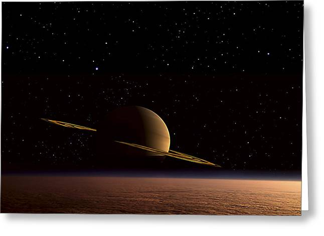 Ring Systems Greeting Cards - Saturn Floats In The Background Greeting Card by Frank Hettick