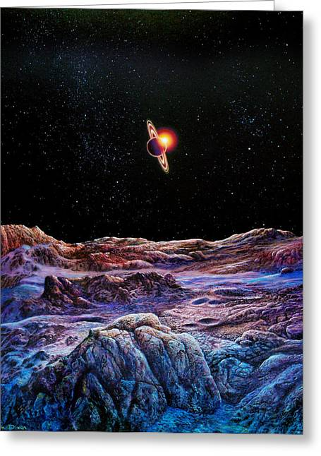 Outer Space Paintings Greeting Cards - Saturn from Iapetus Greeting Card by Don Dixon