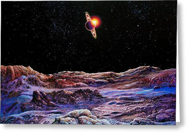 Saturn from Iapetus Greeting Card by Don Dixon