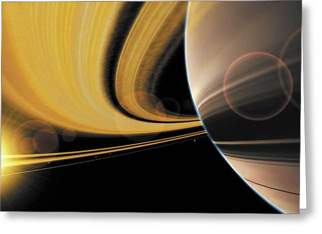 Cosmos Paintings Greeting Cards - Saturn Glory Greeting Card by Don Dixon