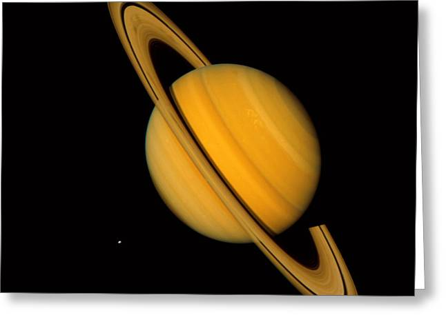 Celestial Bodies Greeting Cards - Saturn Greeting Card by NASA / Science Source
