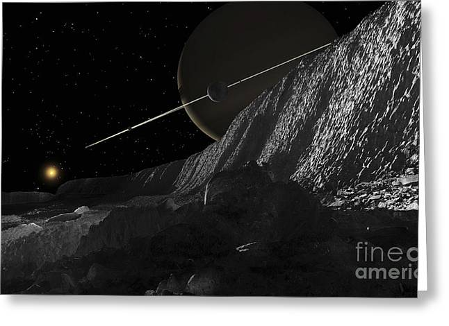 Incline Digital Greeting Cards - Saturns Moon, Dione, Has Huge Cliffs Greeting Card by Ron Miller