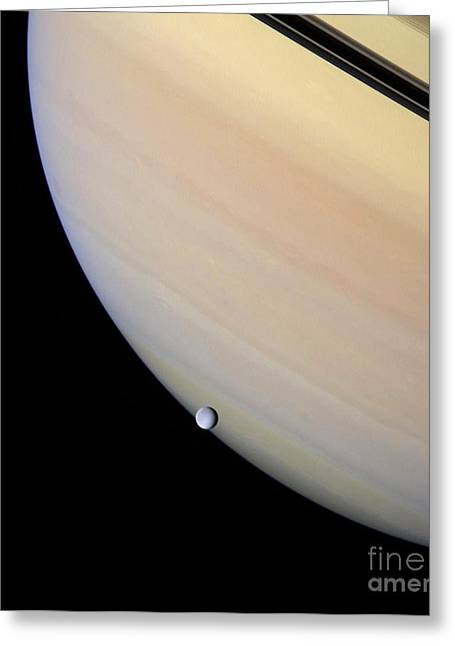 Space Probes Greeting Cards - Saturns Moon Rhea Greeting Card by Nasa