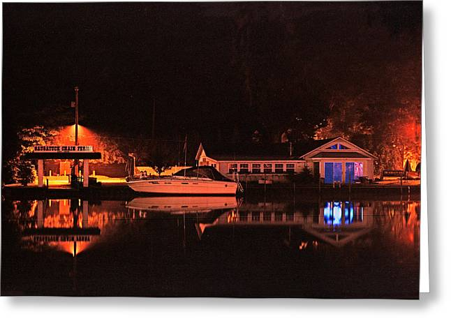 A Summer Evening Greeting Cards - Saugatuck Chain Ferry Greeting Card by James Rasmusson