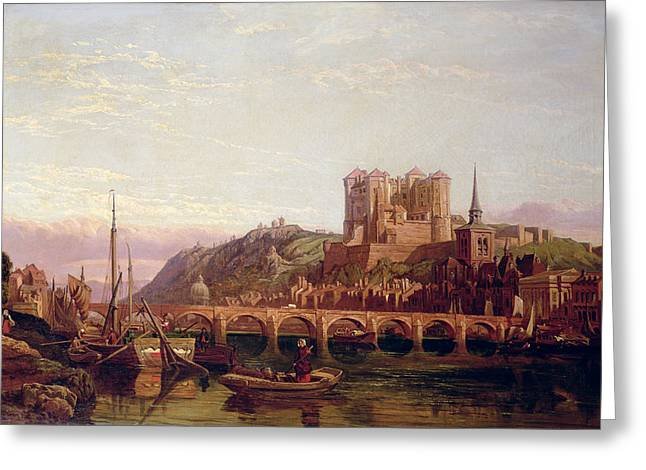 River Valley Greeting Cards - Saumur -  by the Loire Valley  Greeting Card by George Clarkson Stanfield