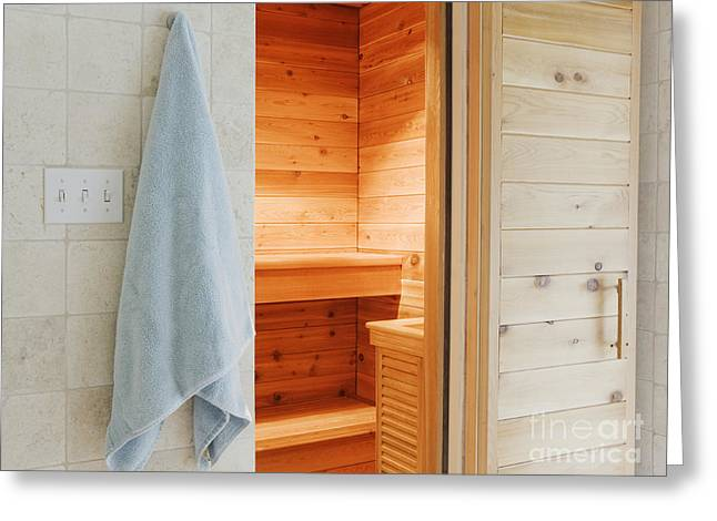 Sauna Greeting Card by Jeremy Woodhouse