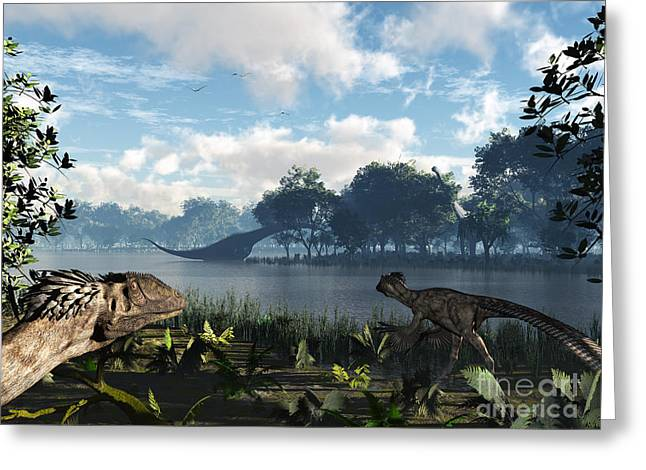 Cretaceous Seaway Greeting Cards - Sauroposeidon Graze While Feathered Greeting Card by Walter Myers