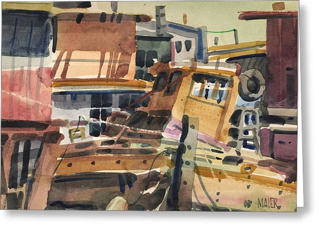 Sausalito House Boats Greeting Card by Donald Maier