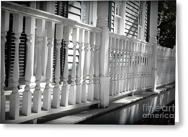 Wrapped Around Greeting Cards - Savannah Balustrade - Black and White Greeting Card by Carol Groenen