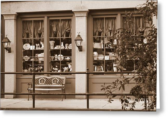 Carol Groenen Greeting Cards - Savannah Sepia - Antique Shop Greeting Card by Carol Groenen