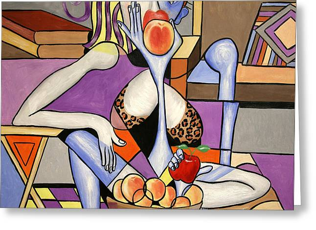 Save An Apple Eat A Peach Greeting Card by Anthony Falbo
