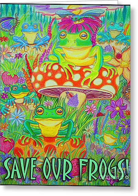 Dragon Lady Greeting Cards - Save Our Frogs Greeting Card by Nick Gustafson