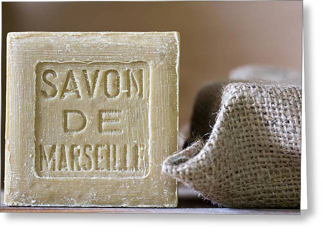 Olive Greeting Cards - Savon de Marseille Greeting Card by Frank Tschakert