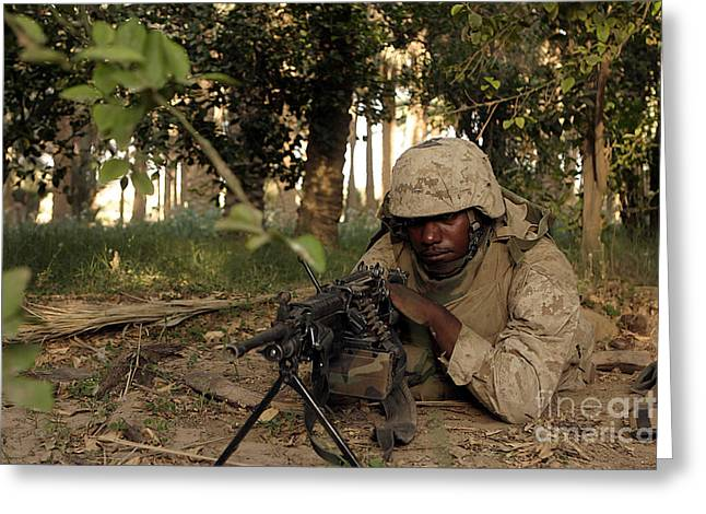 Jungle Warfare Greeting Cards - Saw Gunner Sights In On A Potential Greeting Card by Stocktrek Images